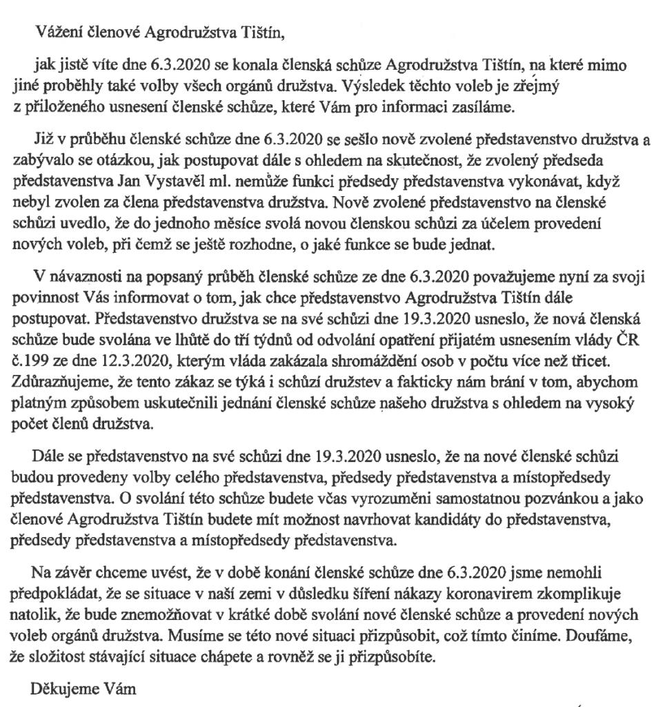 Usnesení představenstva z 6.3.2020 a 19.3.2020